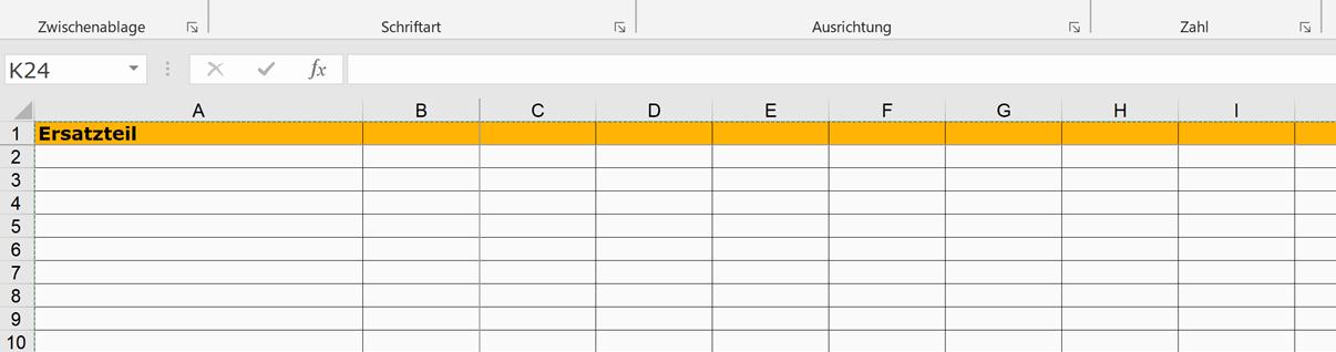 Excel im Ersatzteilmanagement