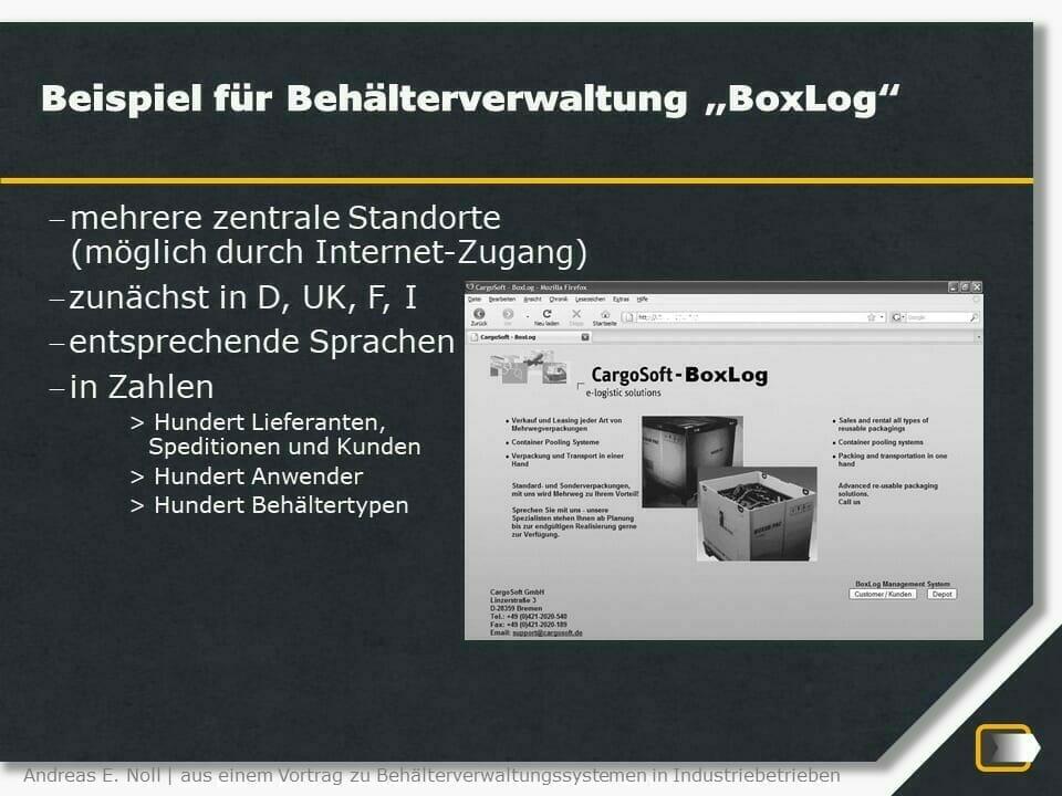 Behälterverwaltung BoxLog