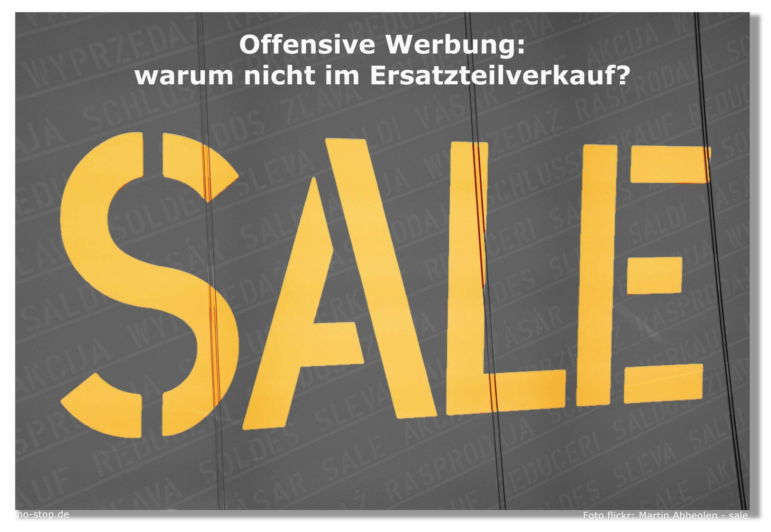 Offensive Werbung im Ersatzteilverkauf